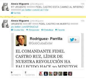 Twitter de Alesia Miguens anunciando la muerte de Fidel Castro