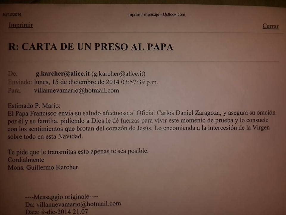 carta del papa a policia