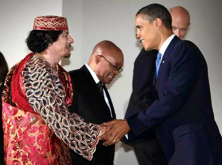 Obama y Gadafi, antes