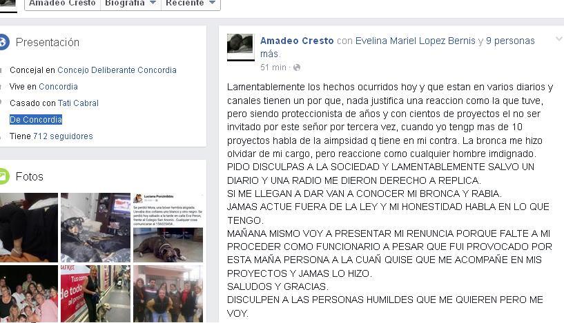 Increíble: Cresto renunció porFacebook