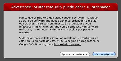 Advertencia Visitar este sitio puede perjudicar la computadora