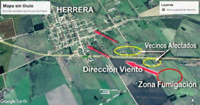 Vecinos de Herrera afectados porfumigaciones