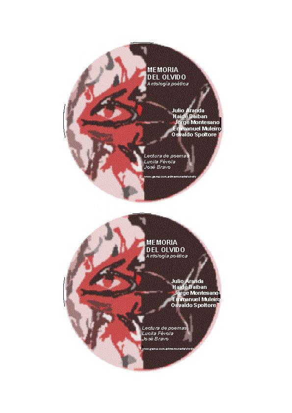 Osvaldo Spoltore - Etiqueta CD Antología Oral Memoria del Olvido