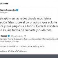 "Alberto advierte sobre ""infodemia"""