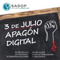 "SADOP realiza ""apagón digital"" en rechazo a Ley de Emergencia"